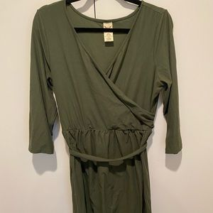 Olive Green Fauz Wrap Dress in Large